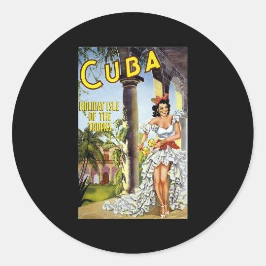 Cuba Holiday Isle Of The Tropics Classic Round Sticker