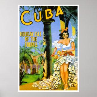 Cuba holiday isle of the tropics travel poster