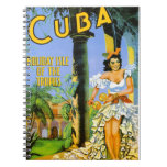 Cuba holiday isle of the tropics travel poster notebook