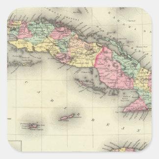 Cuba, Jamaica y Puerto Rico Pegatina Cuadrada