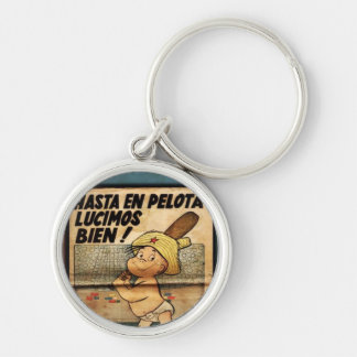 Cuba key ring Baseball Until In Ball We shone Well Silver-Colored Round Keychain