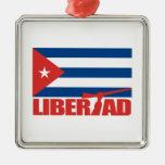 Cuba - Libertad Adorno Cuadrado Plateado