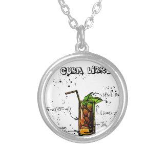 Cuba Libre Cocktail Round Pendant Necklace