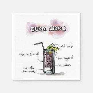 Cuba Libre Drink Recipe Cocktail Napkin