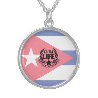 Cuba Libre Motto Laurels Round Pendant Necklace
