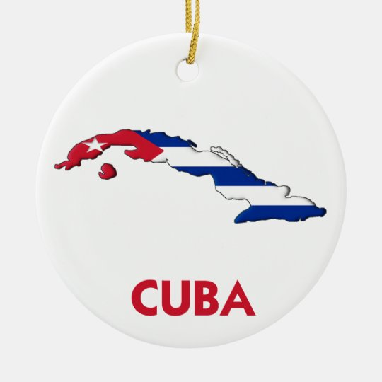CUBA MAP CERAMIC ORNAMENT