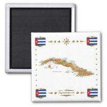 Cuba Map   Flags Magnet