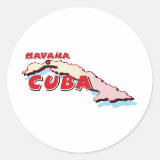Cuba Map Round Stickers