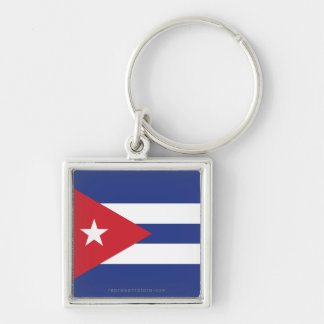 Cuba Plain Flag Silver-Colored Square Keychain