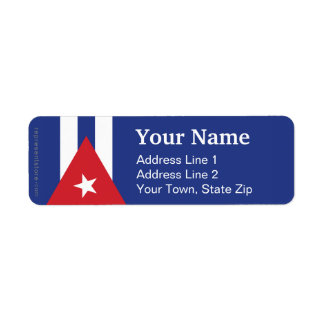 Cuba Plain Flag Custom Return Address Label