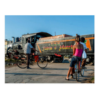 Cuba. Railroad crossing. Postcard