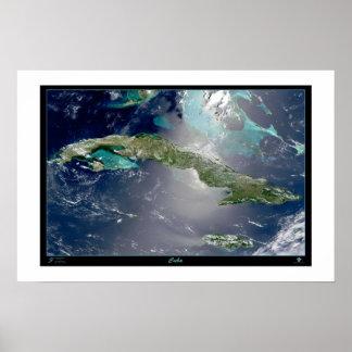 Cuba satellite poster photo map