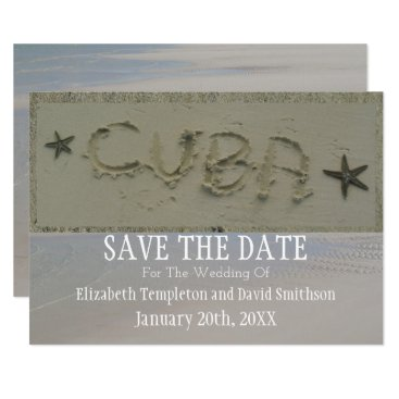 Cuba Save the Date Destination  Beach Wedding Card