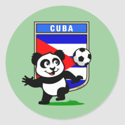 Round Sticker with Cuba Football Panda design