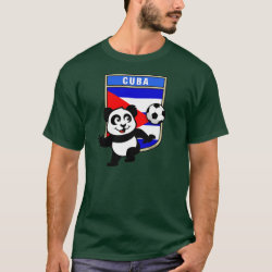 Men's Basic Dark T-Shirt with Cuba Football Panda design
