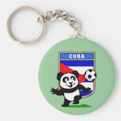Basic Button Keychain with Cuba Football Panda design