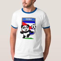 Men's Basic Ringer T-Shirt with Cuba Football Panda design