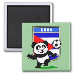 Square Magnet with Cuba Football Panda design