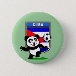 Round Button with Cuba Football Panda design
