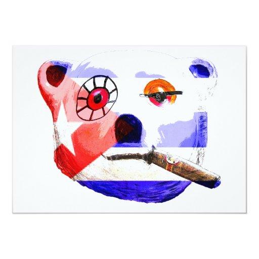 Cuba Teddy Bear with Cigar, with Cuban Flag Invite