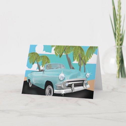 Cuba vintage car travel poster