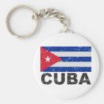 Cuba Vintage Flag Basic Round Button Keychain