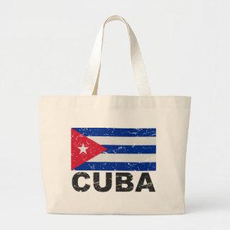 Cuba Vintage Flag Large Tote Bag