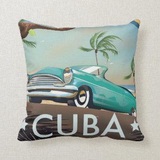 Cuba vintage retro Travel print Throw Pillow