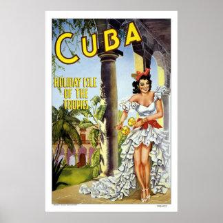 """Cuba"" Vintage Travel Poster"