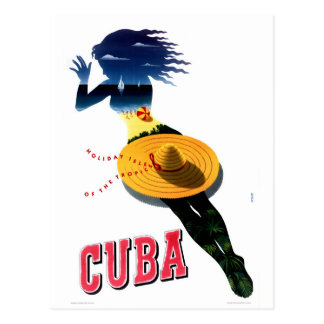 Cuba Vintage Travel Poster Restored Postcard
