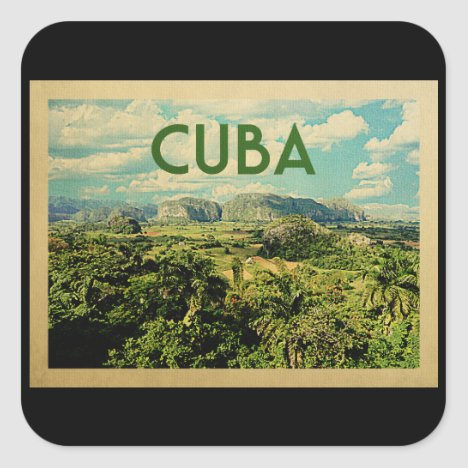 Cuba Vintage Travel Square Sticker