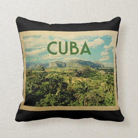 Cuba Vintage Travel Throw Pillow