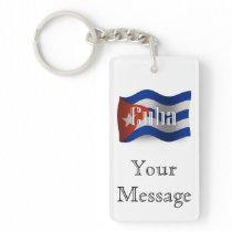Cuba Waving Flag Double-Sided Rectangular Acrylic Keychain