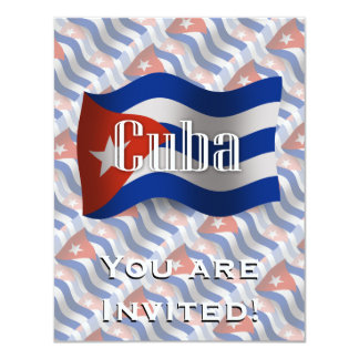 Cuba Waving Flag Custom Invites