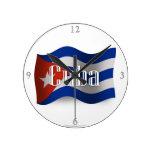 Cuba Waving Flag Round Clocks