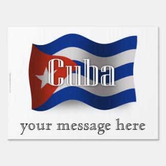 Cuba Waving Flag Sign