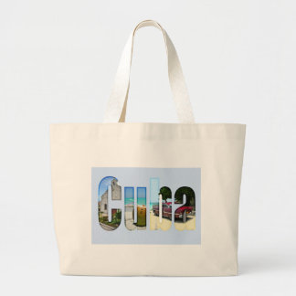 Cuba with different scenes in the letters tote bag