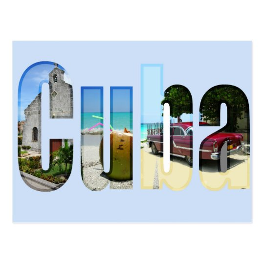 Cuba with different scenes in the letters postcard