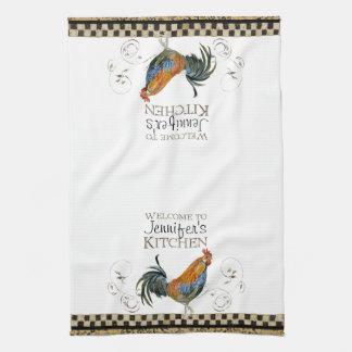 Cubalaya Rooster Black & Tan Check Swirl Kitchen Towels