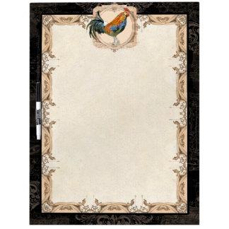 Cubalaya Rooster Black Tan Vintage Etchings Swirls Dry Erase Board
