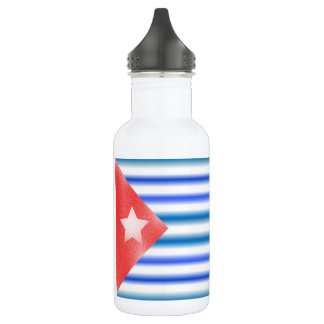 Cuban American Flags Stainless Steel Water Bottle