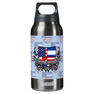 Cuban-American Shield Flag Insulated Water Bottle