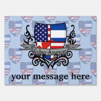 Cuban-American Shield Flag Lawn Sign