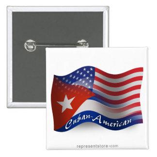 Cuban-American Waving Flag Button