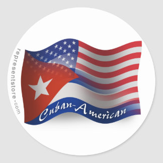 Cuban-American Waving Flag Classic Round Sticker