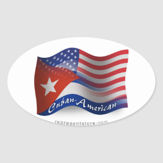 Cuban-American Waving Flag Oval Sticker