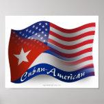 Cuban-American Waving Flag Poster
