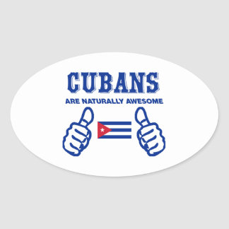 Cuban are naturally awesome oval sticker