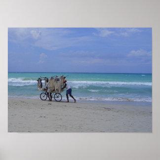 Cuban Beach Scene Print