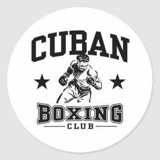 Cuban Boxing Classic Round Sticker